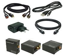 Digital zu Analog Konverter#DA3 + 1,5m Toslink + 1,5m Cinch-Kabel + USB-Netzteil