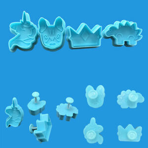 4pcs Unicorn Dinosaur Cookies Biscuit Cutter Fondant Mould Cake Sugarcraft Mold