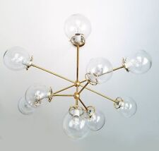 Modern Brass Globe Chandelier Lighting Fixture, 10 Clear Glass Globes Chandelier