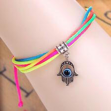 HAND OF FATIMA HAMSA KHAMSA KABBALAH Pendant Evil Eye Colorful Bracelet