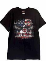 "Harley-Davidson Men's Black Patriotic ""in the zone"" eagle flag shirt Large"