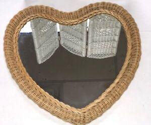 Wicker Heart Mirror