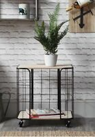 Wheeled black wire basket side table trolley storage unit retro industrial home