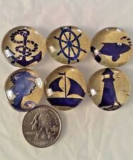 LOT of 6 ANCHORS AWAY NAUTICAL BEACH Glass Magnets Refrigerator Bubble Magnet