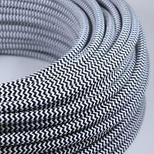 Cable Electrique Chevron Noir Blanc Textile Tissu Rond Normes CE 2*0,75mm Deco