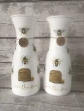 Handmade decoupage Bee vase shabby vintage