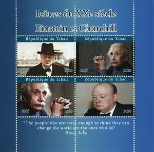 Chad Famous People Stamps 2020 MNH Winston Churchill Albert Einstein 4v M/S