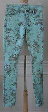 DELIA's Aqua Floral Skinny Jeans Hot Kiss Size 00 Low Rise Unique