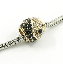 1pcs Gold Taiji European Charm Crystal Spacer Beads Fit Necklace Bracelet DIY !