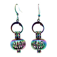 Rainbow Color Pumpkin Halloween Pearl Cage Earrings Hooks with 8mm Beads Z389