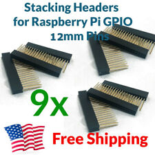 9X Raspberry Pi Stacking Gpio Header 2x20 40P 40 pin 2.54 Female Extra Long Pins