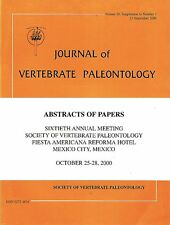 DGLib 1192: Society of Vertebrate Paleontology Abstracts 2000 SVP annual meeting