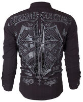 XTREME COUTURE by AFFLICTION Mens L/S BUTTON DOWN Shirt RATTLE Shield $78