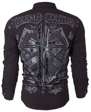 XTREME COUTURE by AFFLICTION Mens L/S BUTTON DOWN Shirt RATTLE Shield UFC $78