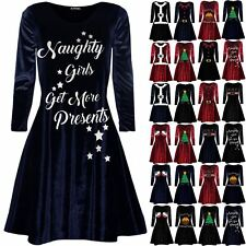 Womens Ladies Round Neck Naughty Girls Get More Presents Swing Christmas Dress