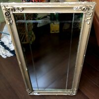 """Mirror Beveled Wood Frame 26"""" Gold Rectangle Vtg Antique Shabby"""
