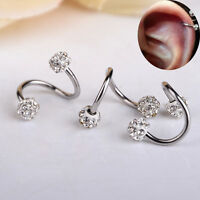 Fashion Twisted Surgical Steel Crystal Balls Nose Hoop Ring 18g Body Jewelry