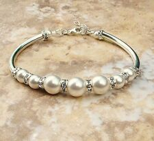 NEW Wedding Glass pearl With Silver Diamante Ball Tube Bracelet Bridesmaid Gift