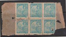 (K560-85) 1934 Macau 8A blue 6block Portuguese GALEASSE (some damage) (CJ)