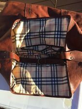 Vintage  Brown Leather 22X20X9'' FOOTED Luggage Weekend Bag EXCELLENT