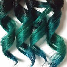 4x Teal Green Blue 100% Human Hair Clip In Ombre Dip Dye Extensions Kawaii Style