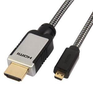 Maplin Pro microHDMI 1080p 4K Resolution Pure Copper Conductors Gold 3D Cable 3M