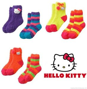 HELLO KITTY 2-Pack Super-Soft Plush Slipper Socks Toddlers/Girls Ages 3-10