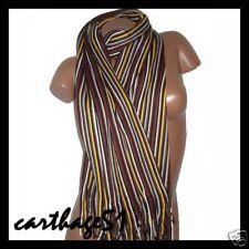 Echarpe homme rayures marron brun choco - NEUF