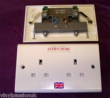Silver Plated UK Double Wall Socket Unswitched