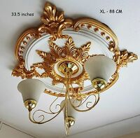 85CM LARGE Ceiling Rose Beautiful GOLD Ornate Home Decor Medallion HUGE CR7G-XL