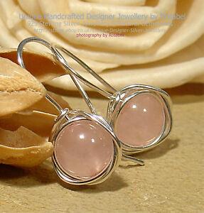 Rose Quartz 925 Sterling Silver Earrings Handmade Jewellery 0416-5