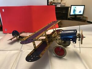 Meccano. aeroplane made with vintage 1930s blue + gold Meccano. great condition