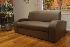 Braun Echtleder Sofa Couch mit Schlaf Funktion 100%  Echtes Leder