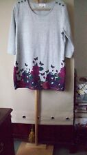 WOMENS DRESS SIZE 16. GREY WITH FLORAL HEM BORDER.