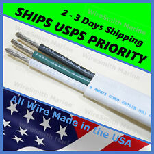 8/3 AWG Gauge Marine Wire Tinned Copper Boat Cable Triplex BLK/GRN/WHT 50 FEET