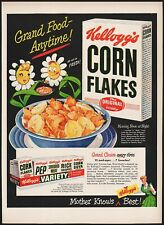 Vintage magazine ad KELLOGGS CORN FLAKES from 1949 with cereal boxes pictured
