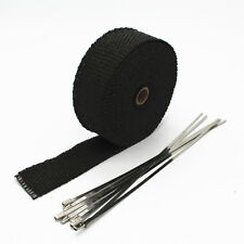 "2"" 50Ft Roll Black Fiberglass Exhaust Header Pipe Heat Wrap Tape+ 6 Ties Kit L"
