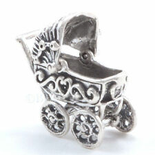 3D BABY CARRIAGE BUGGY Sterling Silver Charm Pendant  925 Moveable Top detailed!
