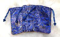 3 Royal  Blue Cobalt Colour Silk Embroidery Women Ladies Case Ladies Pouch Gift