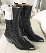ZARA Cowboy Cheville Bottes en cuir noir western-Style Chaussures à nouveau en boîte 1123//301