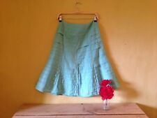 Monsoon size 8 mint green cotton pleated frill boho 50's look A line wide skirt