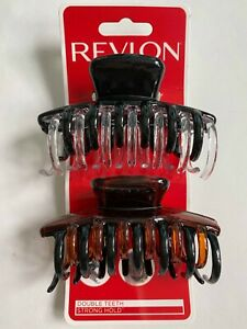 REVLON jaw clips Double Teeth Strong Hold Multi-color ( 2 pieces ) RV5644 Claw