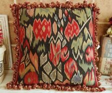 "16"" Primitive Tribal Design Antique Handmade French Aubusson Pillow Cushion"