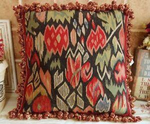 "16"" Primitive Tribal Design Antique Handmade French Aubusson Pillow Cushion"