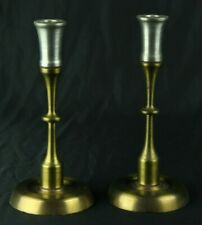 Modern Gothic HAND MACHINED Metal Lathed Brass Candlesticks Candle Holder
