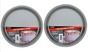 """2 Cake Pans Round Non Stick Pan 8"""" Inch Cooking Concepts Even Cooking"""