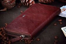 Genuine Leather Maroon Brown Braun Buffel Wallet, Purse under Zipper