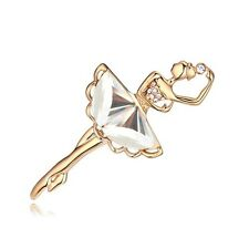 LOVELY 18K ROSE GOLD PLATED AND GENUINE CZ & AUSTRIAN CRYSTAL BALLERINA BROOCH