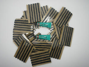 100 x Tubeless Tyre Puncture Repair Kit Strips Strings & Rema Tip Top Cement x 2