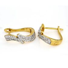14K Yellow Gold Over 1/2 CT Round Cut Diamond Drop Snap Closure Wedding Earrings
